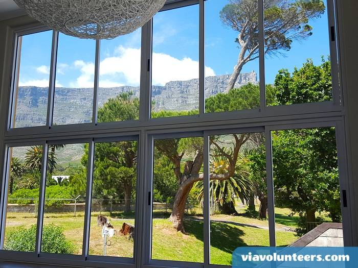 The view of Table Mountain from the new lounge area at Ashanti Lodge.