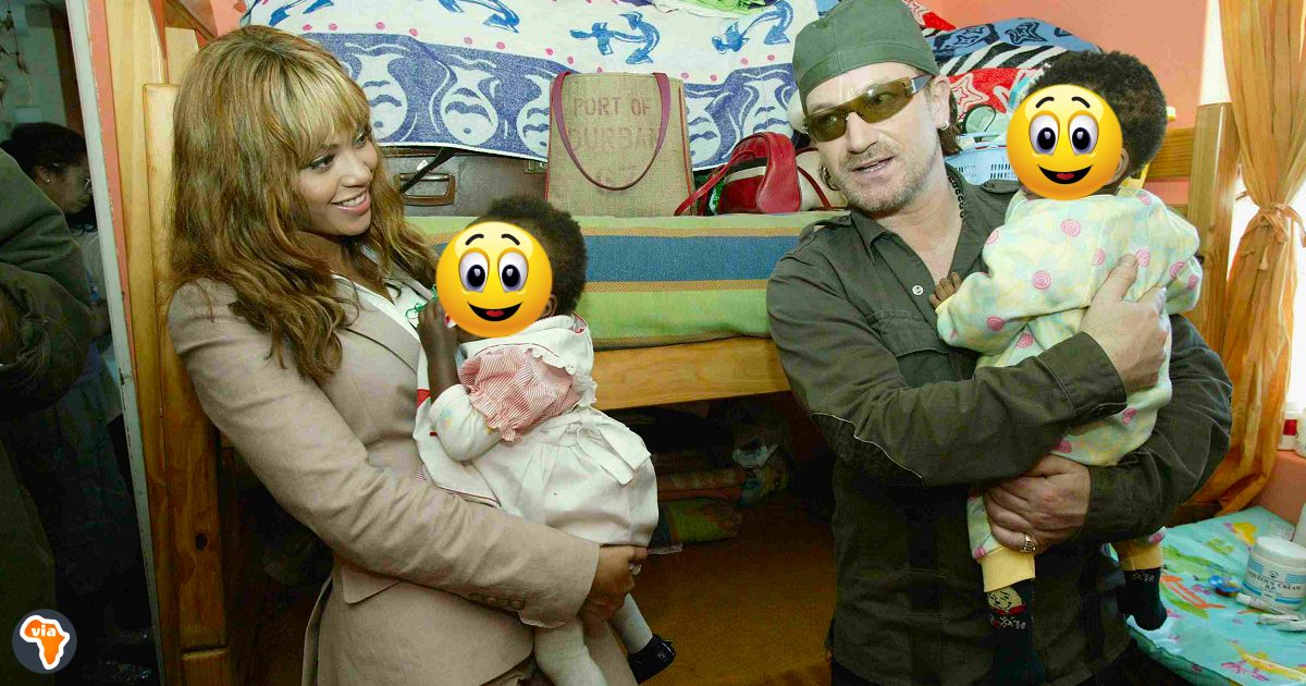 Beyonce and Bono when they visited Baphumelele Children's Home near Cape Town, South Africa.