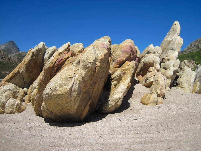 Beautiful rock formations at Rooi Els beach.
