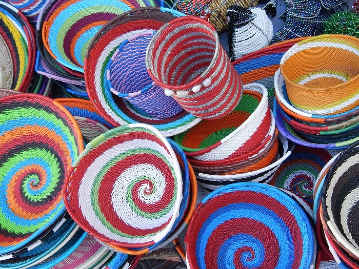 Colourful baskets at Greenmarket Square.