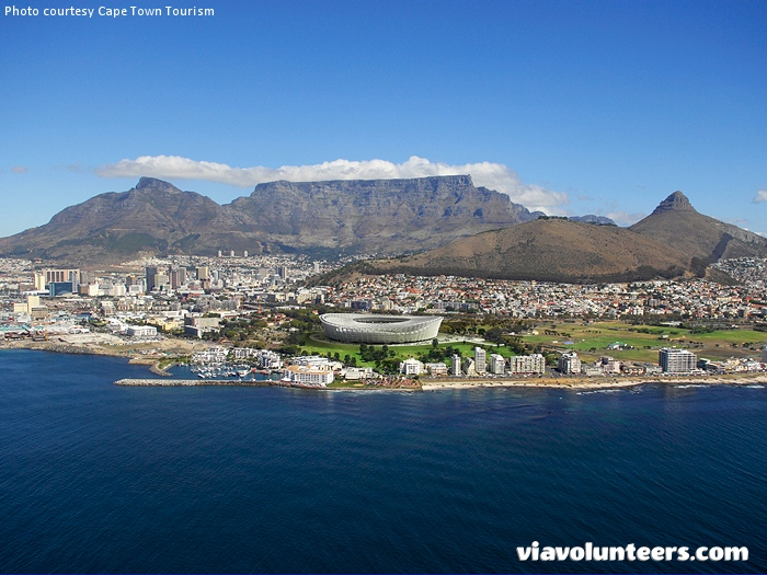 Aerial view of beautiful Cape Town.