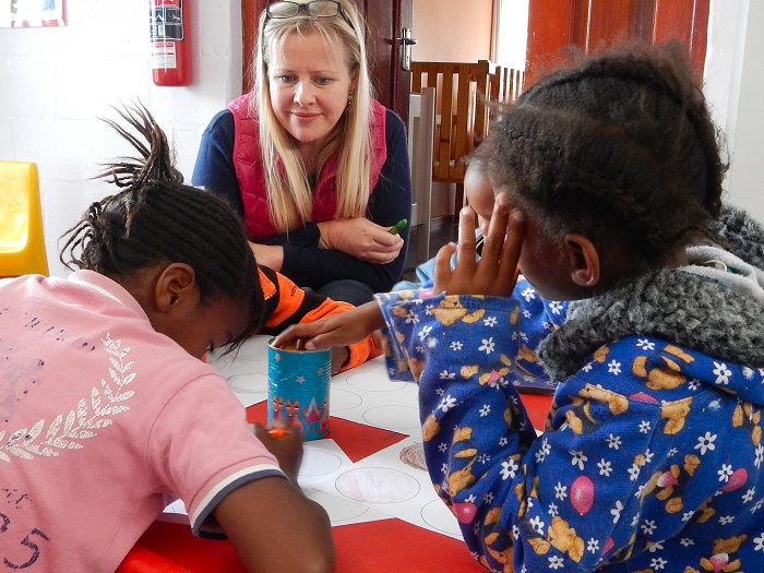 Making caterpillars at Fikelela Children's Home near Cape Town, South Africa.