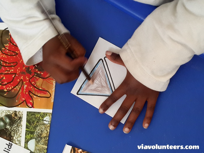 Want to volunteer abroad with Via Volunteers in South Africa?  Learning about shapes at Fikelela Children's Home near Cape Town, South Africa.