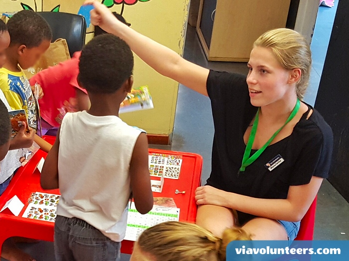 Having lots of fun with Duplo at Fikelela Children's Home near Cape Town, South Africa.