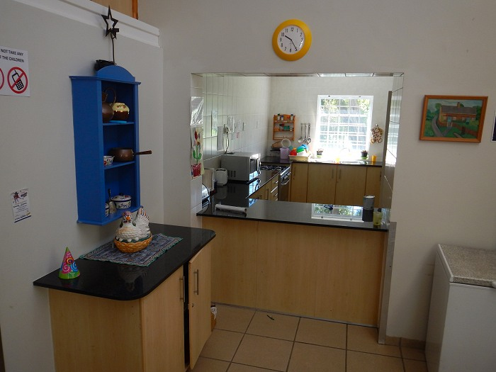 The kitchen area in one of the children's accomodation blocks.