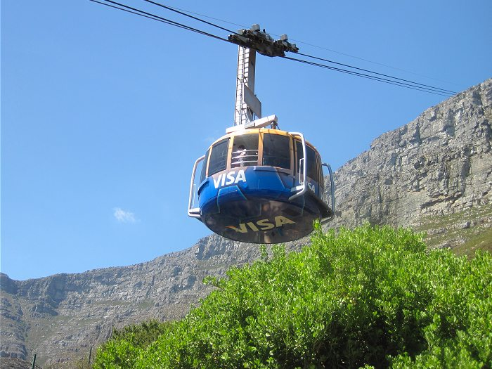 The new cable cars going up Table Mountain give a faster journey to the summit, and rotate through 360 degrees during the ascent or descent, giving a panoramic view over the city.