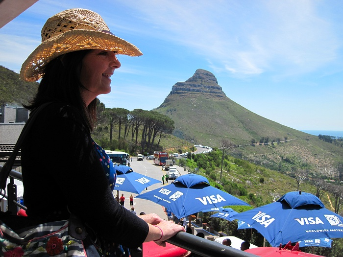 Looking out over Cape Town from the lower cable car station, Table Mountain.