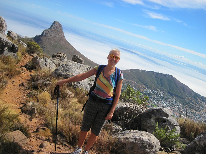 Hiking up Table Mountain towards Devil's Peak, with views of Lion's Head and Signal Hill.