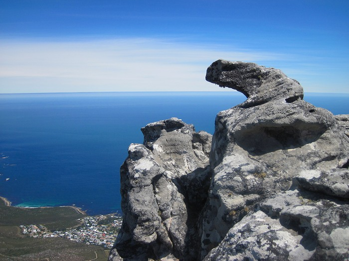 Unusual rock formations on the top of Table Mountain.