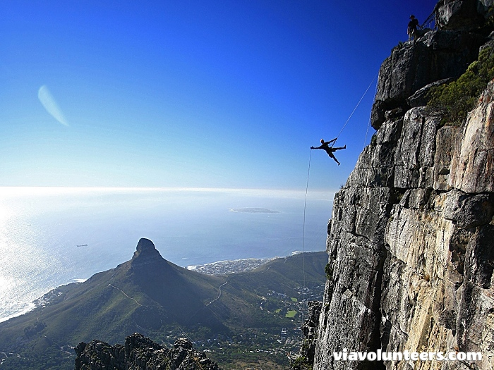 Abseiling off Table Mountain - not for the faint hearted!