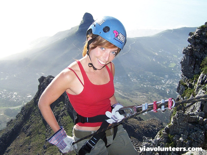 About to abseil off the edge of Table Mountain!