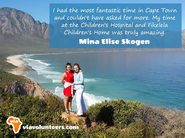 Volunteer Review - Mina (on the right) volunteered at Fikelela Children's Home and the Red Cross Children's Hospital near Cape Town, South Africa.