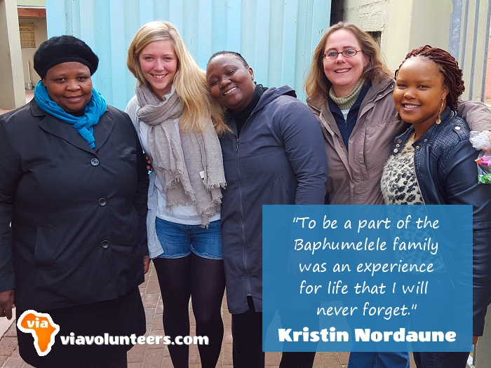 Volunteer Review - Kristin (2nd left) volunteered at Baphumelele Children's Home near Cape Town, South Africa.
