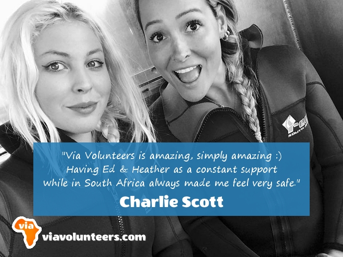 Volunteer Review - Charlie (on the left) volunteered with the Sharks and Big Cats near Cape Town, and the Elephant & Rhino Monitoring Project near Kruger.