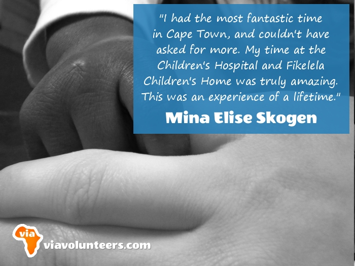 Volunteer Review - Mina volunteered at Fikelela Children's Home and the Red Cross Children's Hospital near Cape Town, South Africa.