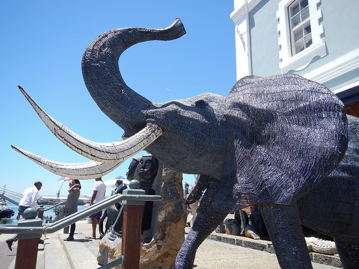 A huge beaded elephant at the V&A Waterfront.